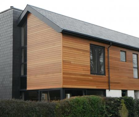 Finished property showing UV oiled cedar wood finish to property