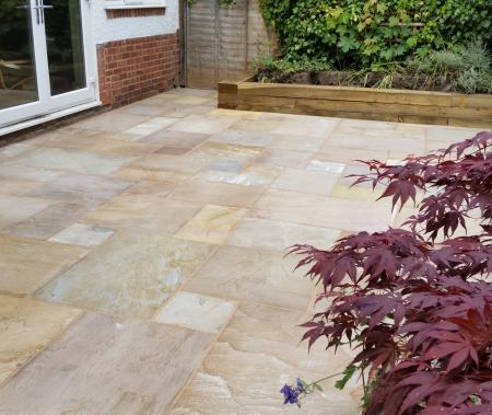 Design and build of sandstone patio at a semi detached property in Grimsby